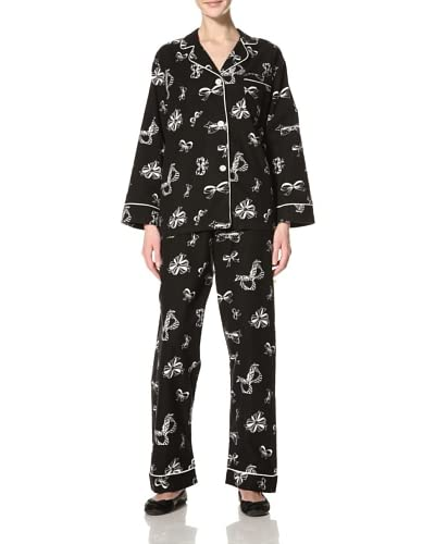 Bedhead Women's Bows Classic Flannel Pajama Set  [Black]