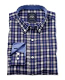 Savile Row Men's Navy Blue White Poplin Check Casual Shirt Large Standard