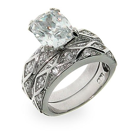 Eliza's Antique Design Emerald Cut CZ Engagement Set Size 6 (Sizes 5 6 7 8 9 Available)