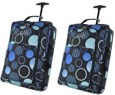 Cities® Set of 2 Lightweight Hand Luggage Travel Holdall Baggage Wheely Suitcase Cabin Approved Bag Ryanair Easyjet And Many More - 1.4k - 40 Litres (Black Multi Circle)