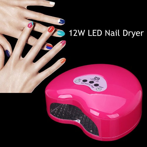 Cherry Nail 12W Led Elegant Nail Dryer Light/Lamp Fast Gel Curing Nail Polish Dryer With Cold Light - Rose