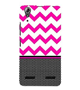 Chevron Pink Black Dots Cute Fashion 3D Hard Polycarbonate Designer Back Case Cover for Lenovo A6000 Plus :: Lenovo A6000+ :: Lenovo A6000
