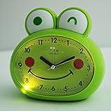 Sweet Home Children Boy Girl Green Big Eyes Frog Silent Night Light Alarm Clock