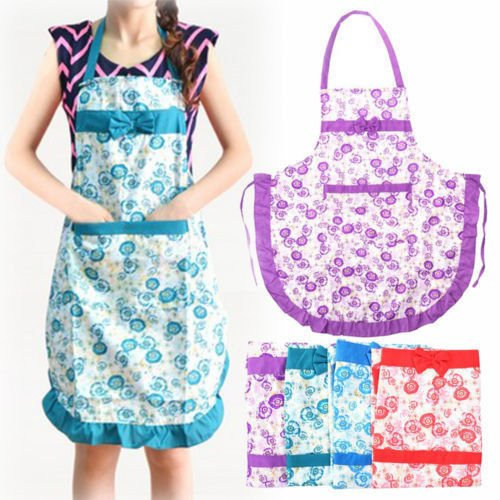 Random Color Great Cute Bowknot Women Kitchen Restaurant Bib Cooking Aprons With Pocket Gift