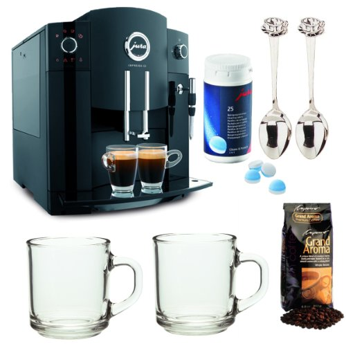 Jura 13531 Impressa C5 Fully Automatic Coffee Center (Piano Black) Refurbished with Coffee Machine Cleaning Tablets and Bundle Kit