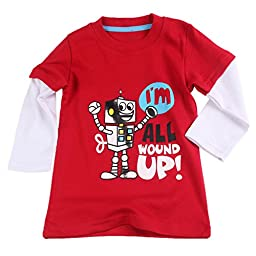 Baby House 1Piece Baby Boys Girls Long Sleeve Red Robot T-shirt Pajama Tops 6T