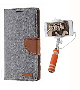 Aart Fancy Wallet Dairy Jeans Flip Case Cover for Apple4G (Grey) + Mini Fashionable Selfie Stick Compatible for all Mobiles Phones By Aart Store