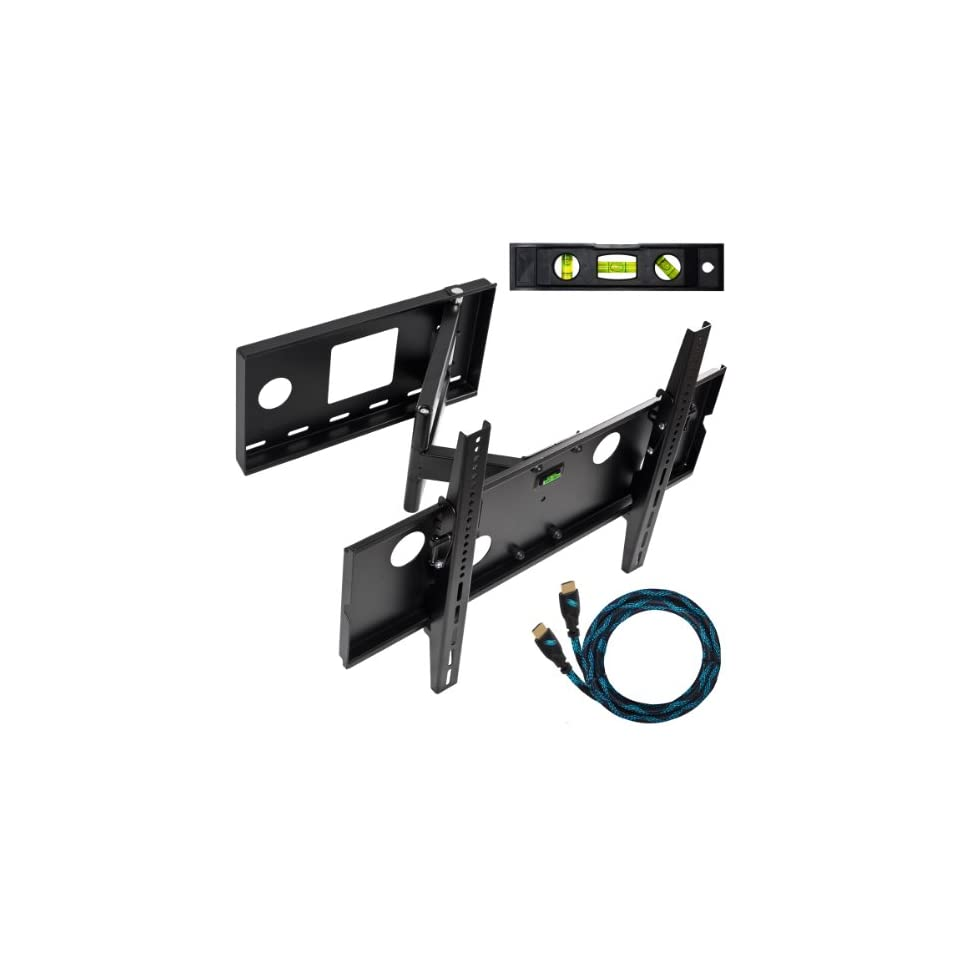 """Cheetah Mounts APSAMB 32 65"""" LCD TV Wall Mount Bracket with Full Motion Swing Out Tilt & Swivel Articulating Arm for Flat Screen Flat Panel LCD LED Plasma TV and Monitor Displays Includes Free 10' Braided High Speed HDMI Cable With Ethernet E"""