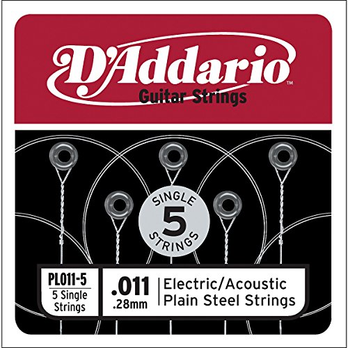 D'Addario PL011-5 Plain Steel Guitar Single String, .011 5-pack (Single Electric Guitar Strings compare prices)