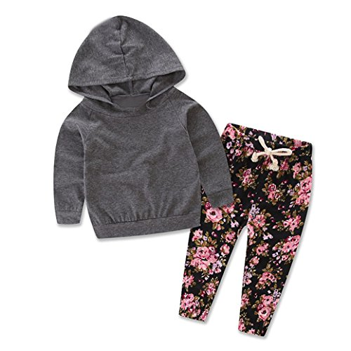 TIFENNY Baby Kids Long Sleeve Floral Print Tracksuit Top +Pants Sets (24M, gray)