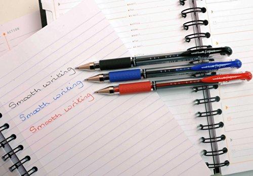 Uni-ball Signo Grip UM-151S - Set de bolígrafos de punta redonda (12 unidades, tinta de gel), color rojo