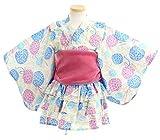 子供 80-160cm 帯2本付き浴衣ドレス 紫陽花柄セパレートタイプ【726-210】 100cm パープル