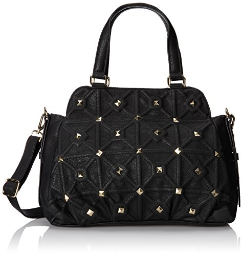 BIG BUDDHA Belmont Satchel with Strap Top Handle Bag,Black,One Size