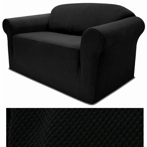 4-Way Stretchable BLACK Form Fit Slipcover Set - Stretch Sofa cover and Loveseat Cover included