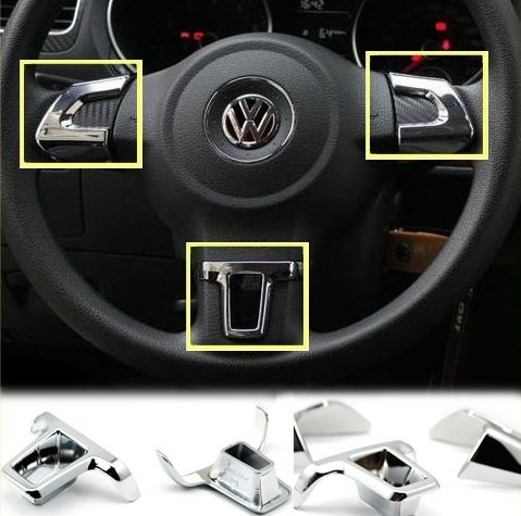 3PCS Chrome Steering Wheel Trim for VW GOLF 6 MK6 POLO 2010 2011 2012 (Steering Wheel Gti Vw compare prices)