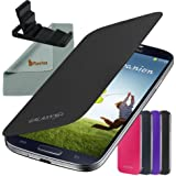 Rasfox Classic Black Flip Cover Folio Case and Portable Desktop Stand For Samsung Galaxy S4 LTE S IV i9500