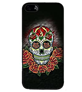 Printvisa Colourfull Floral Skeleton Back Case Cover for Apple iPhone 4S