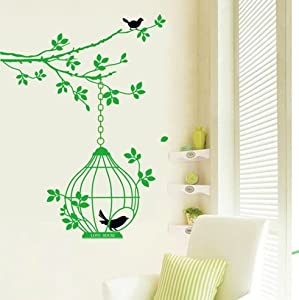 OneHouse Green Branch Tree with Birds and Birdcage Wall Decal Sticker Home Decor Mural from OneHouse