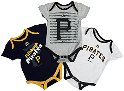 Pittsburgh Pirates Baby / Infant Triple Play II 3 Piece Creeper Set