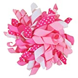 "4"" Korker Curly Grosgrain Ribbon Hair Bow Boutique Style Hairbow on Alligator Clip for Infant Baby to Toddlers to Youth Girls - Great to add to headband or beanie (Many Colors Available)"