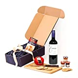 750ml Tonada Merlot Wine & Gourmet Cheese Gift Hamper - Blue Gift Box with 750ml Tonada Merlot Red Wine, Snowdonia Cheese Truckle, Walkers Oatcakes & Fruit Spread Selection - Luxury Valentines, Mothers, Fathers Day, Corporate, Bronze, Silver, Gold Weddin