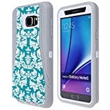 Note 5 Case, SGM (TM) Dual Layer Protection High Impact Hybrid Armor Case For Samsung Galaxy Note 5 (Screen Protector NOT Included) (Gray + White (Flower))