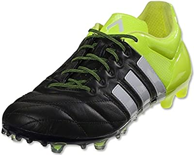 adidas ACE 15.1 FG/AG Leather Soccer Cleats (Black, Solar Yellow)