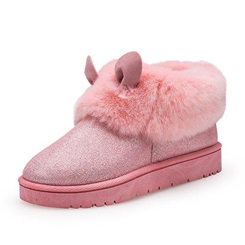 Autunno e inverno pelliccia scarpe/Piattaforma plus velvet shoes/Stivali da neve/ tubo corto Babbucce e scarpe persone pigre/ piatto stivali/[pattini pigri]-A Lunghezza piede=24.3CM(9.6Inch)