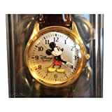 Mickey Mouse Mens Watch - Gold & Brown Leather