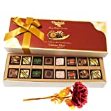 Enthralling Pralines Chocolates With 24k Red Gold Rose - Chocholik Belgium Chocolates