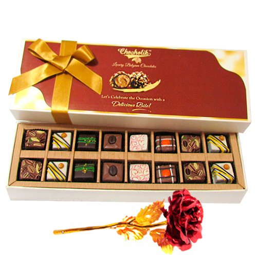 Enthralling Pralines Chocolates With 24k Red Gold Rose - Chocholik Belgium Chocolates