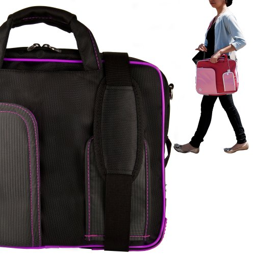 Stylish ASUS K53U 16 Inch Notebook Accessories Pindar Shoulder Bag with Removable Shoulder Strap in Jet Black with Ultra Violet Trim