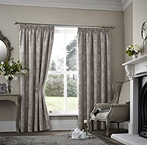 Floral Two Tone Beige 90x72 Thermal Block Out Pencil Pleat Lined Curtain Drapes by Curtains