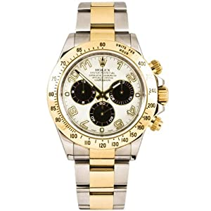 Rolex 40mm Stainless Steel & 18K Gold Daytona Model 116523 Panda Arabic Dial Inner Bezel Engraving Model