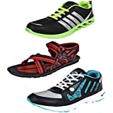 Bersache Men Combo Pack Of 3 Sports Shoes With Sandals
