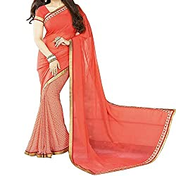 Pramukh saris Womens Georgette Printed Sari(Orange)