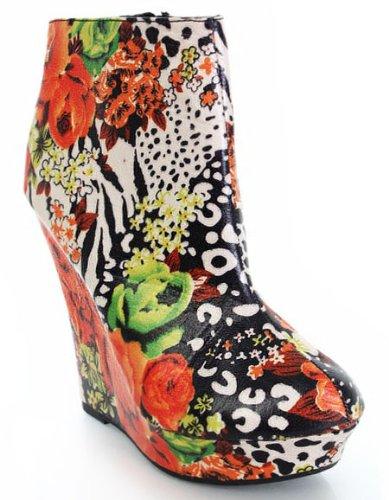 Floral Zebra Printed Ankle Wedges Booties Platform