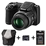 Nikon Coolpix L820 - Black + Case + 8GB Memory Card + Battery and Charger (16 MP, 30x Optical Zoom) 3 inch LCD