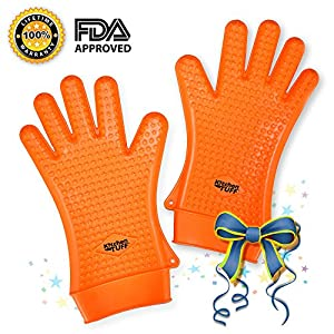 Silicone Oven Mitts With Fingers for Grilling, Baking, Camping & More | Heat Resistant to 425 Degrees | Textured for Secure Hold-1 Pair, Reg. Orange, Green and XL Dark Orange