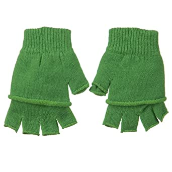 Double Layer Fingerless Glove - Lime