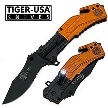 "buy 8"" Ems Trigger Assisted Tactical Pocket Knife With Black Blade And Led Flash Light"