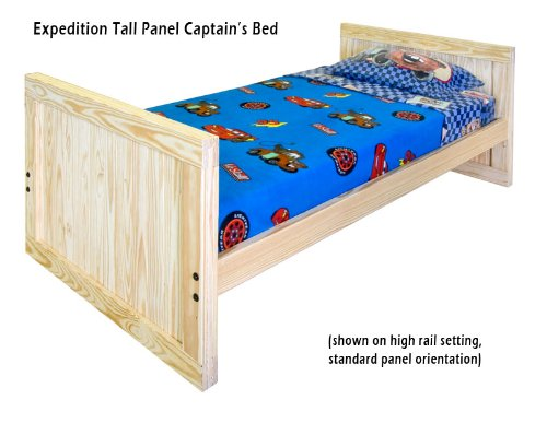 Cheap Kids Captains Bed- Twin Size – Tall Headboard and Footboard with Trundle Option Solid Wood (B003H1W5QQ)