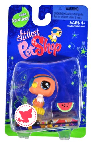 "Hasbro Year 2007 Littlest Pet Shop Single Pack ""Sportiest"" Series Bobble Head Pet Figure Set #882 - PARROT with Eye-Patch and Watermelon (#92624) - 1"