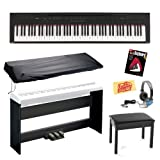 Yamaha P105B 88-Key Digital Piano Bundle with Bench, Furniture-Style Stand, Triple Pedal Board, Dust Cover, Headphones, Instructional Book, and Polishing Cloth