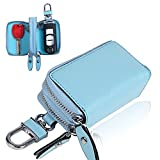 【Blume】ダブル ポケット レザー スマート キーケース 2つの鍵が収納 牛革 (ブルー)
