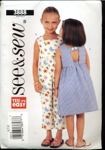 Butterick See & Sew Sewing Pattern 3888 - Children'S / Girl'S Dress And Romper front-734748