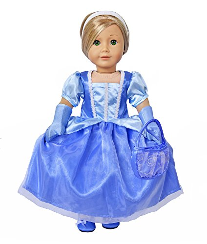 [Ebuddy Halloween 4pcs Doll Outfits Inspired By Cinderella Costume Including Dress Handbag Gloves Hairband Doll Clothes Fits 18 Inch] (Doll Outfits Halloween)