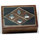 Wooden Box with Shiny Brass Card Suit Themed Inlay - Sealed Deck of Playing Cards Inside - Perfect for Poker Night