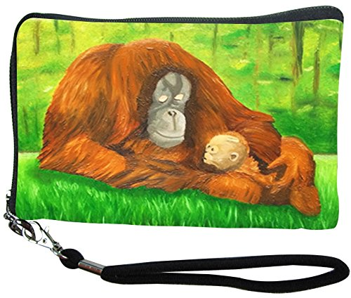Orangutan Small Zip Around Wristlet - Wearable Art - Support Wildlife Conservation, Read How (Orangutan - Ingenious Kin)