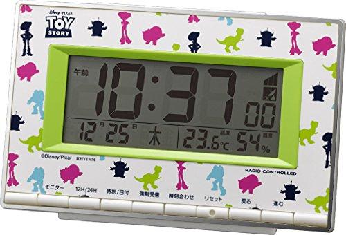 トイ・ストーリー(リズム時計) キャラクターのシルエットをにぎやかにカラープリントした電波デジタル時計 8RZ133MC05